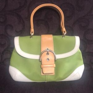 COACH canvas and leather expandable satchel